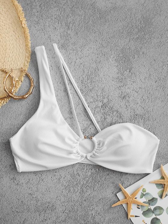 ZAFUL Ribbed Ring Linked One Shoulder Bikini Top - أبيض M