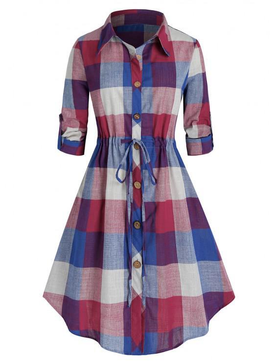 Plus Size Plaid Roll Up Sleeve Drawstring Shirt Dress - Azul de Mirtilo  4X