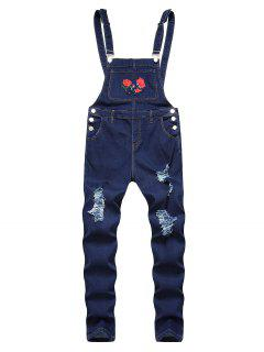 Flower Embroidered Ripped Tapered Overall Jeans - Deep Blue 40