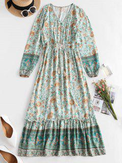 Floral Button Loop Tassels Bohemian Dress - Green S