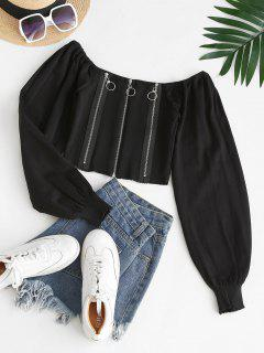 Knitted Zipper Front Milkmaid Top - Black