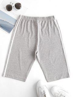 Tape Side Heather High Waisted Biker Shorts - Gray L