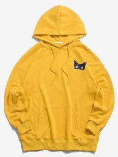 Cartoon Cat Graphic Pouch Pocket Drawstring Hoodie - Yellow L