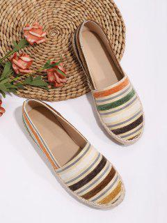 Colorful Striped Espadrilles Loafer Flat Shoes - Multi-a Eu 41