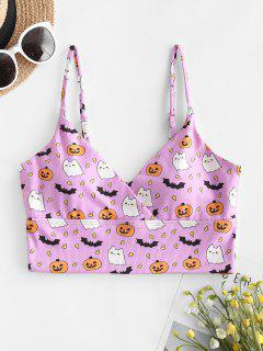 ZAFUL Halloween Ribbed Bat Pumpkin Surplice Bikini Top - Light Purple M