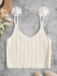 Applique Flower Crochet Crop Beach Tank Top - White L