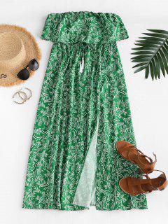 Leaf Print Flounce Slit Strapless Maxi Dress - Green M