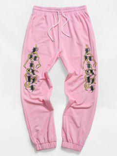 ZAFUL Letter Geometric Pattern Sweatpants - Light Pink 2xl