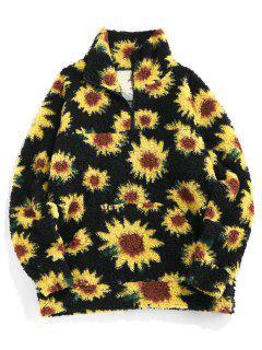 ZAFUL Sunflower Pattern Faux Fur Fluffy Jacket - Black L