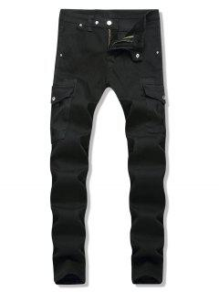 Dark Wash Side Pockets Tapered Jeans - Black 36