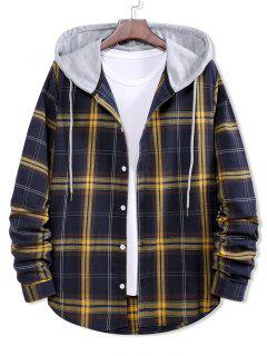 Colorblock Plaid Print Hooded Button Up Shirt - Denim Dark Blue M