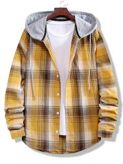 Colorblock Striped Plaid Pattern Button Up Shirt - Golden Brown L