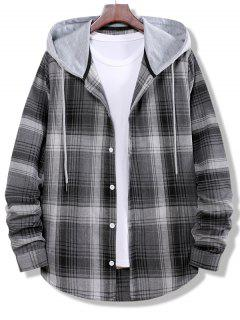 Camisa A Rayas De Bloqueo De Color A Cuadros - Gris Humo M