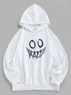 ZAFUL Leuchtende Karikaturdruck Känguru Taschen Hoodie - Weiß M