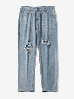 Ripped Straight Leg Jeans - Lapis Blue Xs