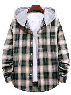Plaid Pattern Colorblock Panel Hooded Shirt - Dark Forest Green Xl