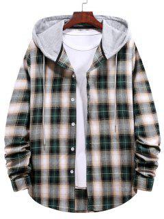 Camisa Con Capucha A Cuadros Con Color Bloque - Verde De Bosque Oscuro Xl