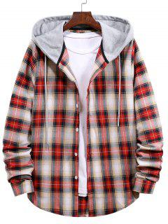 Plaid Pattern Colorblock Panel Hooded Shirt - Lava Red L