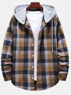 Striped And Plaid Pattern Hooded Button Up Shirt - Camel Brown L