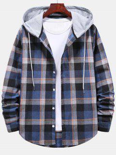 Striped And Plaid Pattern Hooded Button Up Shirt - Blueberry Blue M
