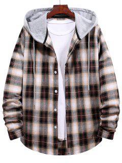 Plaid Pattern Button Up Drawstring Hooded Shirt - Deep Coffee Xl