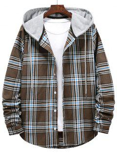 Checkered Stripe Pattern Drawstring Hooded Shirt - Brown Bear S