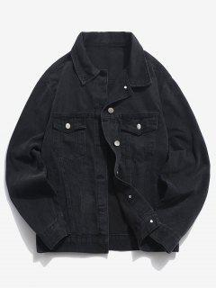 Pockets Button Up Denim Jacket - Black 3xl