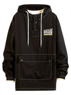 Pouch Pocket Drop Shoulder Pullover Hooded Jacket - Black Xl