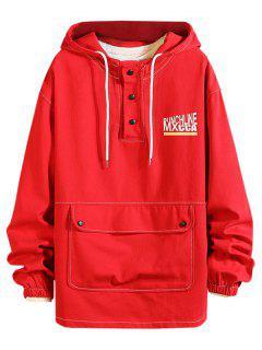 Pouch Pocket Drop Shoulder Pullover Hooded Jacket - Red 2xl