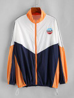 Color Blocking Patched Drawstring Windbreaker Jacket - Orange