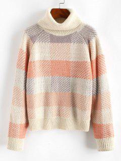 Turtleneck Raglan Sleeve Plaid Sweater - Light Coffee