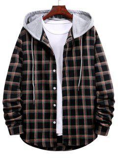 Long Sleeve Plaid Pattern Hooded Shirt - Black M