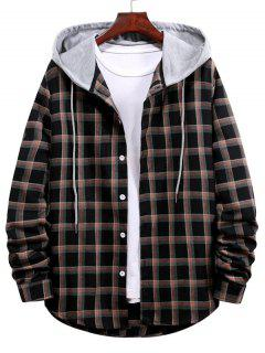 Long Sleeve Plaid Pattern Hooded Shirt - Black L