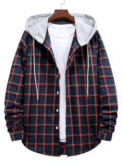 Long Sleeve Plaid Pattern Hooded Shirt - Lava Red M