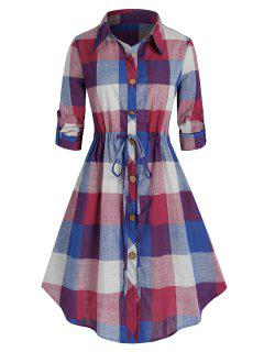 Plus Size Plaid Roll Up Sleeve Drawstring Shirt Dress - Blueberry Blue 4x