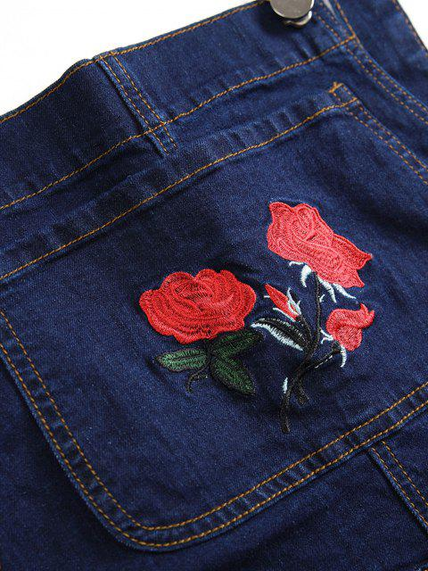 sale Flower Embroidered Ripped Tapered Overall Jeans - DEEP BLUE 34 Mobile