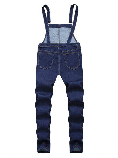affordable Flower Embroidered Ripped Tapered Overall Jeans - DEEP BLUE 36 Mobile