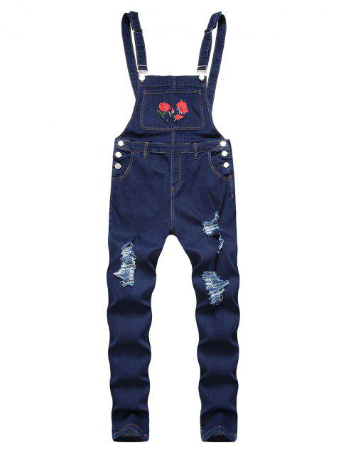 buy Flower Embroidered Ripped Tapered Overall Jeans - DEEP BLUE 38 Mobile