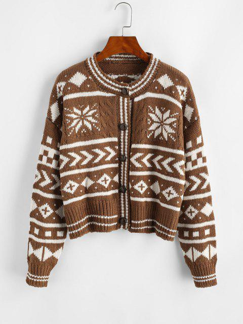 outfits Southwestern Cable Knit Cardigan - DEEP COFFEE ONE SIZE Mobile