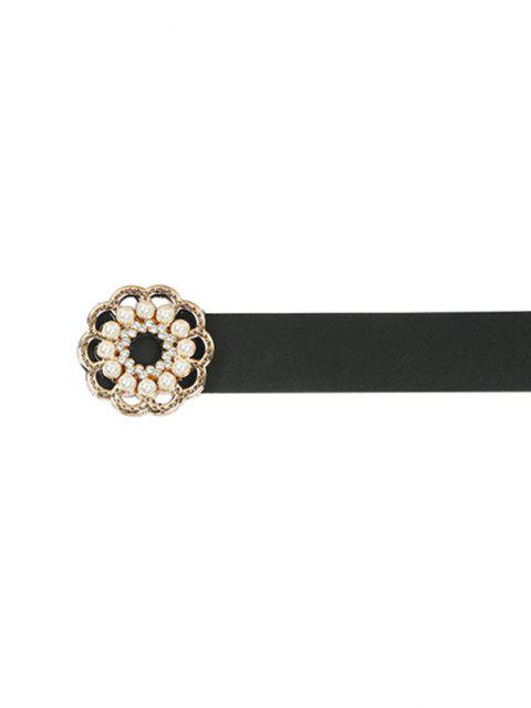 new Floral Shape Faux Pearl Buckle Belt - BLACK  Mobile