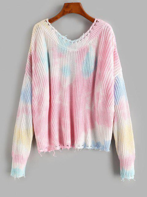 best Distressed Frayed Tie Dye Oversized Sweater - MULTI M Mobile