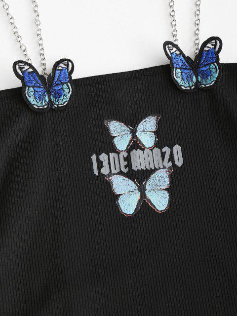fancy Chains Straps Butterfly Applique Mini Dress - BLACK ONE SIZE Mobile