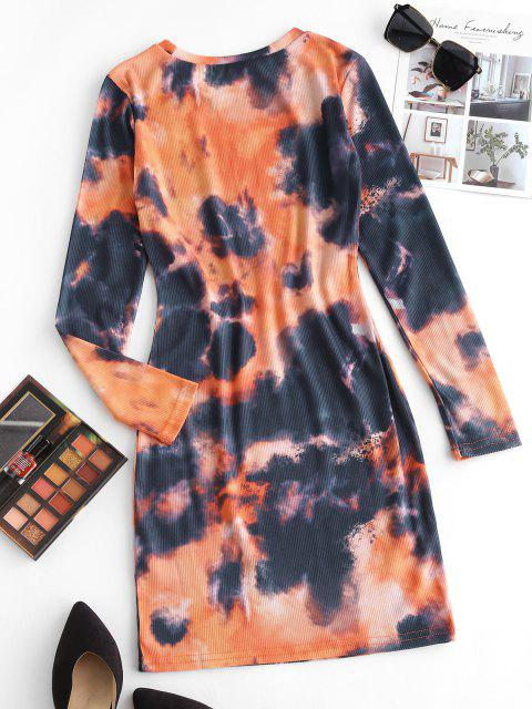 new Ribbed Tie Dye Bodycon Long Sleeve Dress - MULTI M Mobile