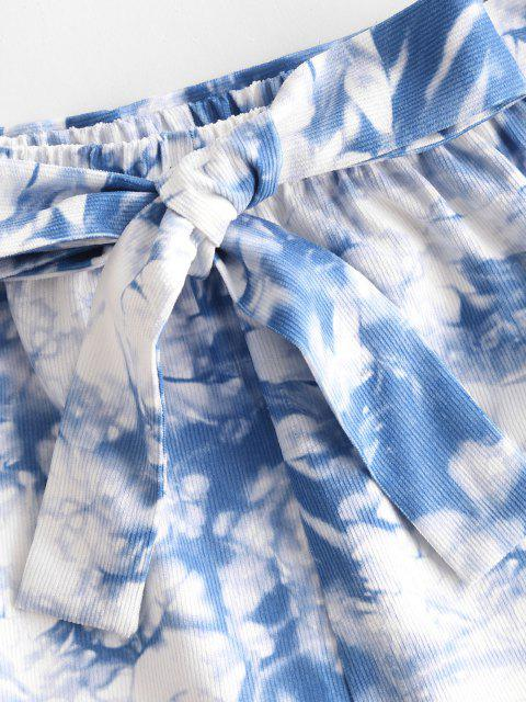 affordable Tie Dye Belted Wide Leg Shorts - BLUE L Mobile