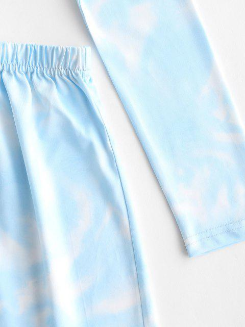 Krawattenfärbende Lose Shorts Set mit Hoher Taille - Hellblau S Mobile