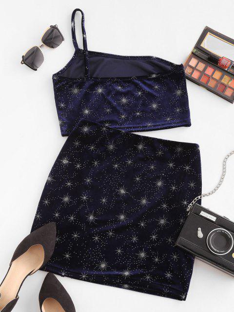 shops Metallic Star Velvet One Shoulder Bodycon Skirt Set - DEEP BLUE L Mobile