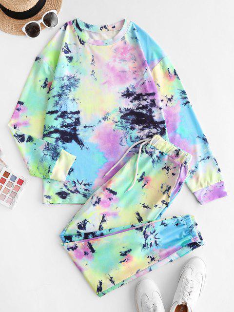 sale Tie Dye Drop Shoulder Pocket Pants Set - MULTI S Mobile