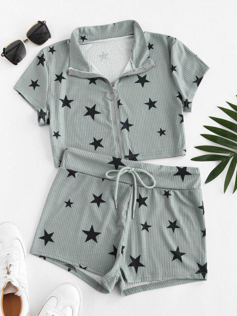 hot Lounge Ribbed Star Front Zip Shorts Set - GRAY S Mobile