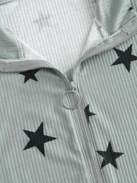 outfits Lounge Ribbed Star Front Zip Shorts Set - GRAY M Mobile