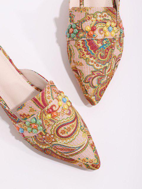 Perlen Paisleydruck Spitze Zehe Halbe Flache Schuhe - Multi-A EU 39 Mobile
